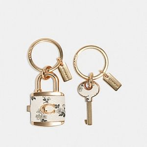 Coach bag charm valet key white